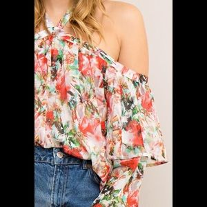 New Entro Cold Shoulder Halter Floral Top Blouse L